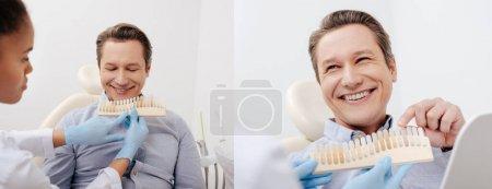 Photo pour Collage de l'homme heureux pointant du doigt la palette des dents près du dentiste afro-américain en gants de latex - image libre de droit