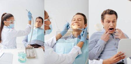 Collage eines afrikanischen amerikanischen Zahnarztes in medizinischer Maske und Gesichtsschutz mit zahnärztlichen Instrumenten in der Nähe eines glücklichen und verängstigten Patienten