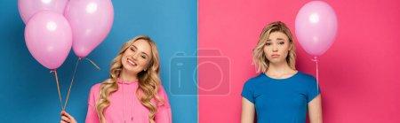 Photo pour Récolte panoramique de fille blonde souriante tenant des ballons près de sœur triste regardant la caméra sur fond rose et bleu - image libre de droit
