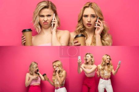Photo pour Collage de femmes blondes avec des tasses en papier parlant et utilisant des smartphones sur fond rose - image libre de droit