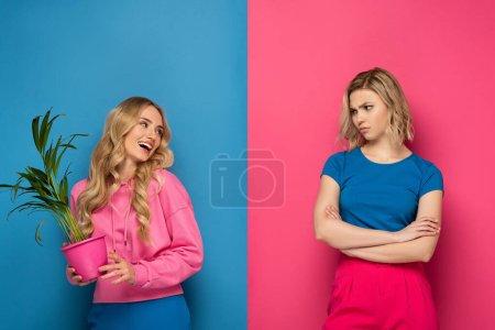 Photo pour Femme blonde offensée regardant soeur souriante avec la plante sur fond rose et bleu - image libre de droit