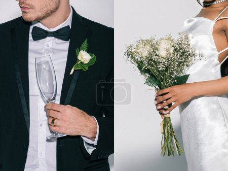 Photo for Collage of bridegroom holding champagne glass, and african american bride with wedding bouquet on white background, cropped view - Royalty Free Image