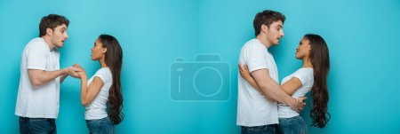 Photo for Collage of young man holding hands of african american girlfriend and embracing her on blue background - Royalty Free Image