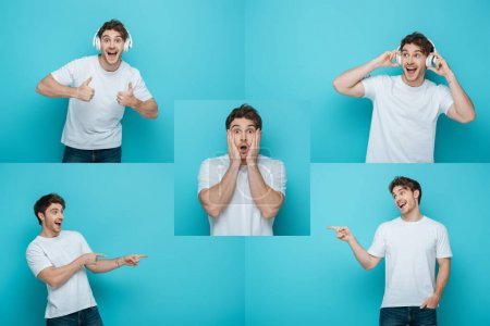 Photo for Collage of man in wireless headphones showing thumbs up, shocked man touching face, and cheerful man pointing with fingers on blue background - Royalty Free Image