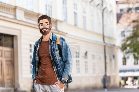 Photo for Young man with hands in pockets and illustrated face in city - Royalty Free Image