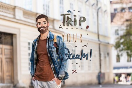 Photo for Young man with hands in pockets and illustrated face near trip your dream illustration in city - Royalty Free Image