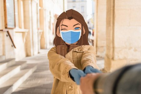 Photo pour Foyer sélectif de la fille avec visage illustré dans le masque médical tenant la main de l'homme en ville - image libre de droit