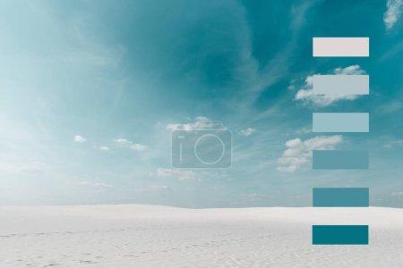 Photo pour Belle plage avec sable blanc et ciel bleu avec nuages blancs et illustration géométrique - image libre de droit