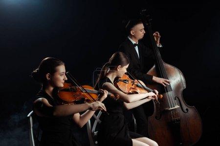 Photo pour Musiciens professionnels jouant sur contrebasse et violons isolés sur noir - image libre de droit