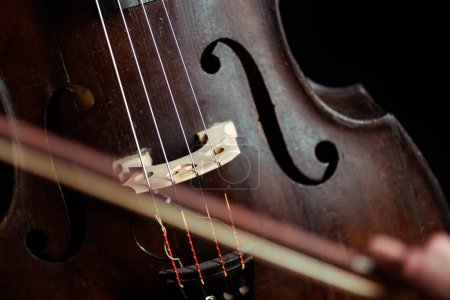 close up of double bass and bow