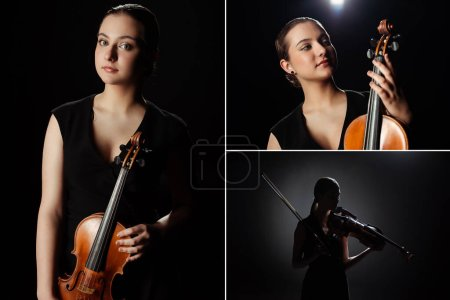collage with female musician playing on violin on dark stage