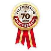 Glossy anniversary celebrating rosette for 70 yearsbadge with gold border on white background vector illustration