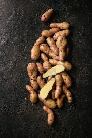 Raw uncooked organic potatoes named bayard, whole ...