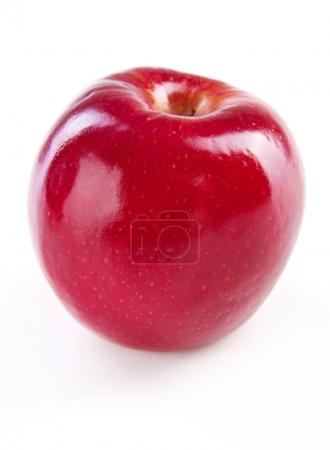 Red apple macro isolated on white background