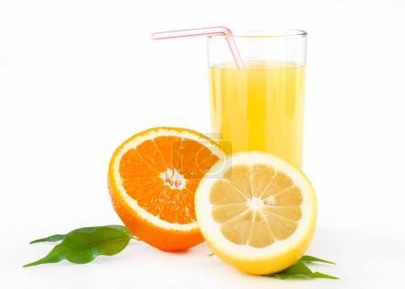 orange and lemon juice with tubule