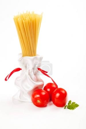Italian pasta, green and tomato and with your sample text