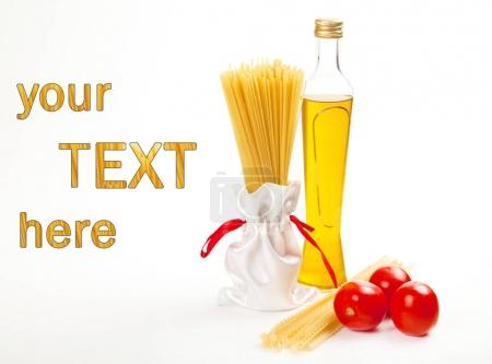 Italian pasta with olive oil and tomato and with your sample text