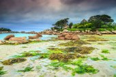 Magical Atlantic ocean coast with granite stones, Perros-Guirec, France