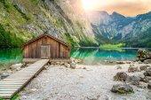 Boat dock on Obersee alpine lake, Berchtesgaden, Bavaria, Germany, Europe