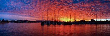 Crimson and Blue Marina Sunset Panorama.