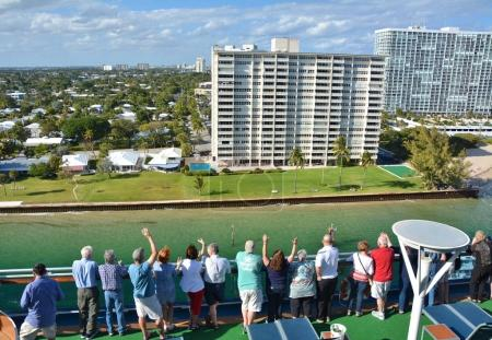 Cruise ship sails away from Fort Lauderdale