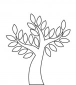 Transparent tree outline shape Vector illustration