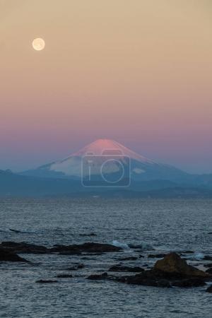 Mountain Fuji and sea in winter season