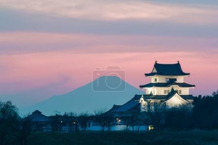 Sekiyado Castle at sunset