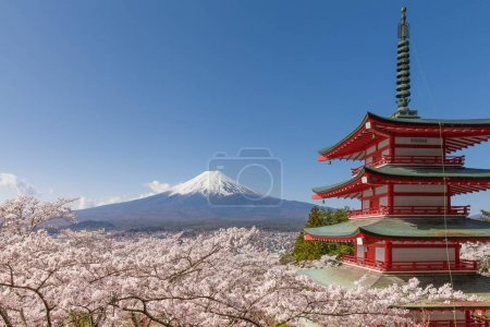 Mountain Fuji and red pagoda