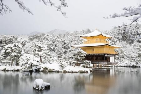 Golden Pavilion with snow fall