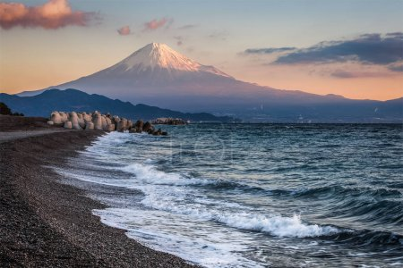 Mountain Fuji and sea beach