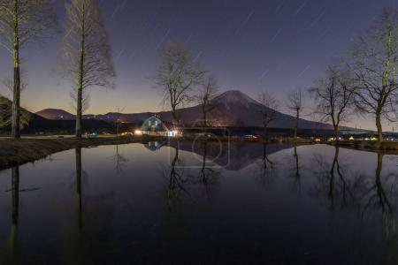 Mountain Fuji and Starry night in winter