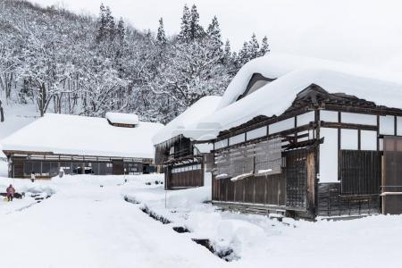 FUKUSHIMA, Japan - DEC 29, 2017: Ouchijuku village is a fomer post town along the Aizu-Nishi Kaido trade route, which connected Aizu with Nikko during the Edo period