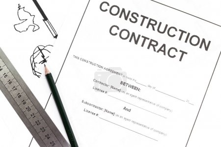 Close - up Blank construction contract paper