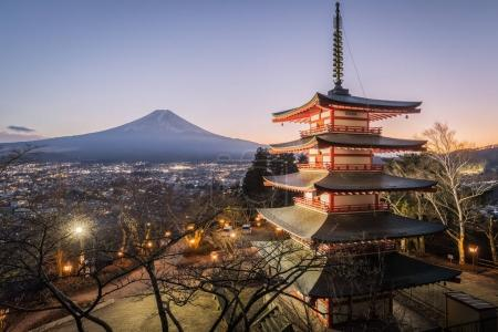Chureito Pagoda and Mt.Fuji at sunset