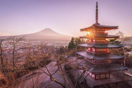 Chureito Pagoda and Mount Fuji in sunset