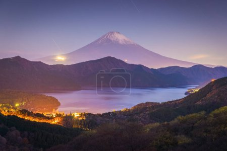 Mount Fuji and Lake ashi at sunrise in autumn