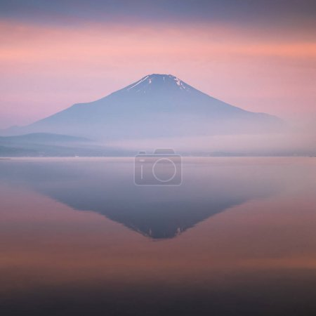 Photo for View of mountain Fuji with reflection in lake - Royalty Free Image
