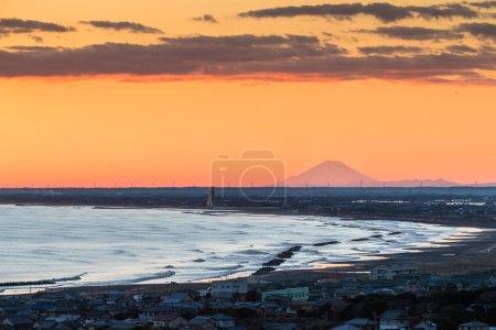 Mount Fuji and beach at Lioka town