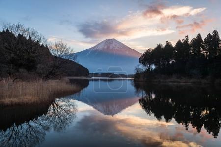 Lake Tanumi and Mountain Fuji in winter season on sunrise background
