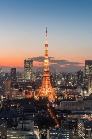 view of Tokyo city with lighted Tower at nighttime