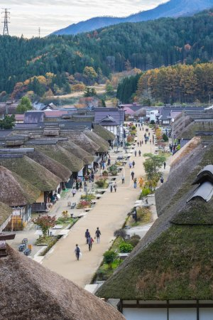 JAPAN, FUKUSHIMA - NOVEMBER 01, 2017: Autumn Ouchijuku village, fomer post town along Aizu-Nishi Kaido trade route and connecting with Nikko during Edo period