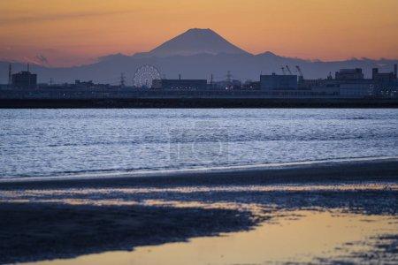 Mountain Fuji and Tokyo Bay at sunset, Japan.