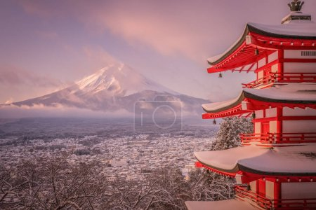 Chureito pagoda and mountain Fuji in winter, Japan.