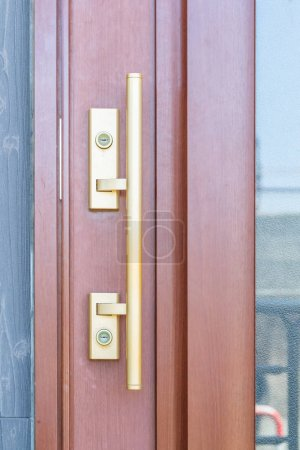 Gold metal door handle and wood door
