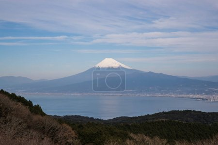 Mountain Fuji and Suruga bay in winter season at Shizuoka prefecture. seen from Mt. Daruyama , Izu city