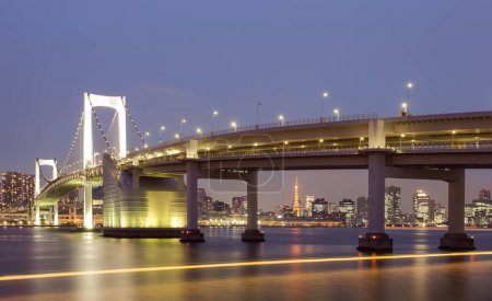 Tokyo rainbow bridge ans Toky Tower in evening