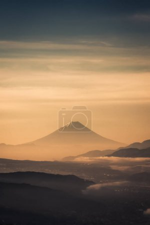 Mountain Fuji with morning mist in spring season