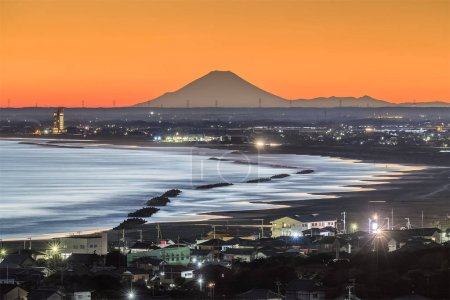 Mt. Fuji and the beach at Iioka town , Chiba prefecture. Mt.Fuji is 185km. away but can be seen on clear days.