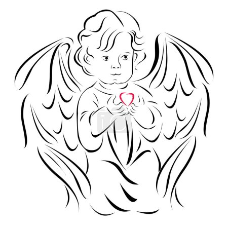 Illustration for Angel with a red heart, only the outline, on a white background.Element for your design of greeting card for Valentine's day. - Royalty Free Image